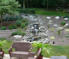 residential landscaped waterfall feature